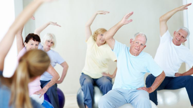A group of elderly people exercising together on balance balls