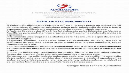Carta de esclarecimento do Auxiliadora