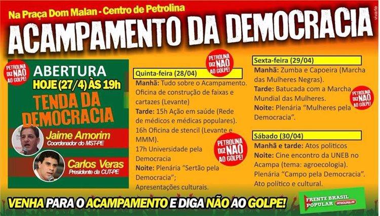 ARTE BANNER ACAMPAMENTO POPULAR DEMOCRACIA