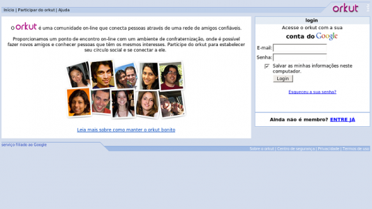 Página de login do Orkut (Foto: Internet)