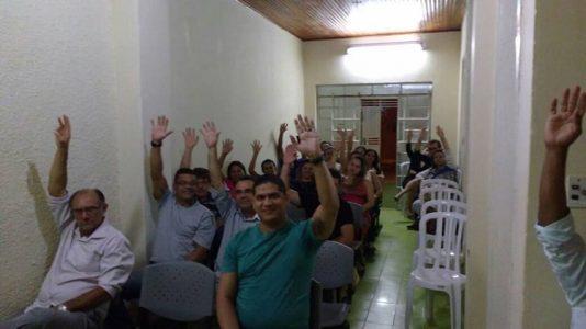 Bancários reunidos na sede do SEEB para aprovação da greve que durou mais de 30 dias. (Foto: ASCOM)