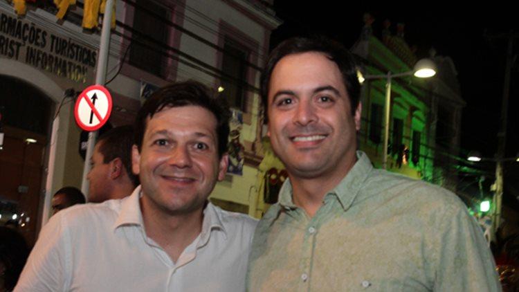 27/02/2014. Credito: Nando Chiappetta/DP/D.A Press. Inauguracao da casa da TV Clube, na pra ca doArsenal.. Carnaval 2014. na foto - Geraldo Julio e Paulo Camara